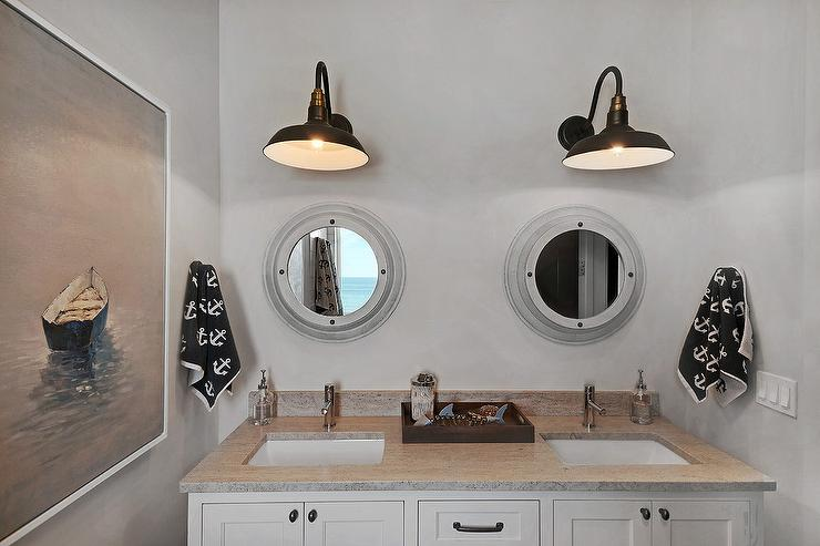 Shared Nautical Boys Bathroom with Gray Porthole Mirrors - Cottage .