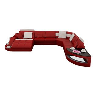 Scene Furniture - RJ Large Leather Sectional, Red W Snow White .