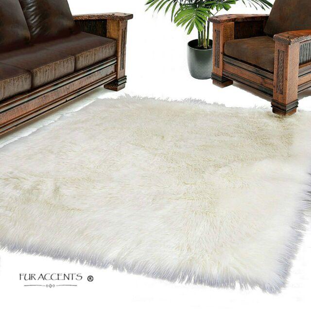 White Shag Area Rug - Faux Fur - Sheepskin - Large Square 10' x 10 .