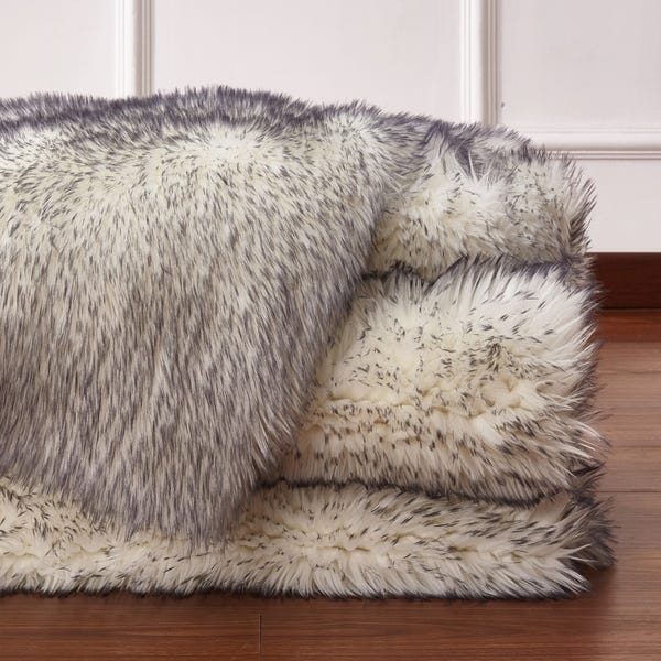 Shop Large Size Faux Shag Area Rug In Off-white/Grey - Overstock .