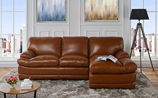 Amazon.com: Leather Match Sectional Sofa, L-Shape Couch with .