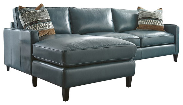 Turquoise Leather Sectional With Chaise Lounge - Transitional .