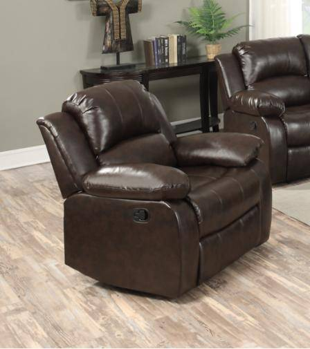 Happy Homes 10100 Modern Brown Bonded Leather Recliner Sofa Set .