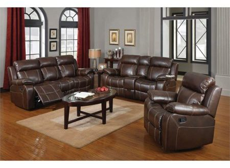 Coaster Myleene 3 Piece Leather Reclining Sofa Set in Brown .