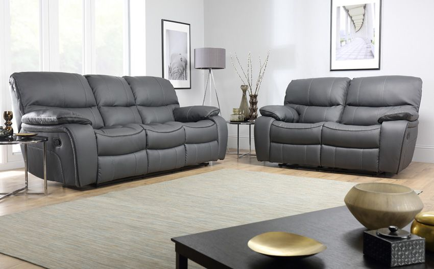 Beaumont Grey Leather 3+2 Seater Recliner Sofa Set in 2020 | Grey .