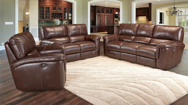 Parker Living Hitchcock Cigar Brown Leather Reclining Sofa Set .