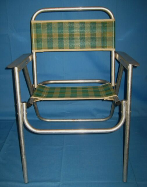 Vtg Aluminum Child Toddler Folding Lawn Chair Lightweight Beach .