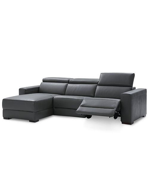 Furniture Nevio 3-pc Leather Sectional Sofa with Chaise, 1 Power .