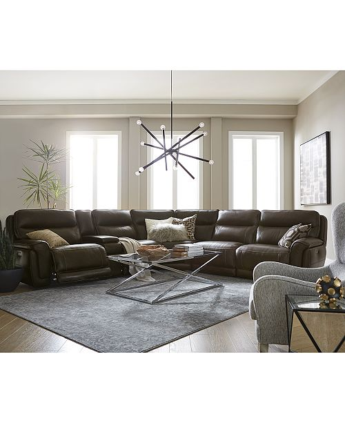 Furniture Summerbridge Leather Sectional Sofa Collection with .