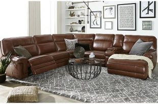 Furniture Myars Leather Power Reclining Sectional Collection .