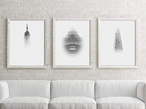Amazon.com: Set of 3 City Prints, London, Paris, New York, City .