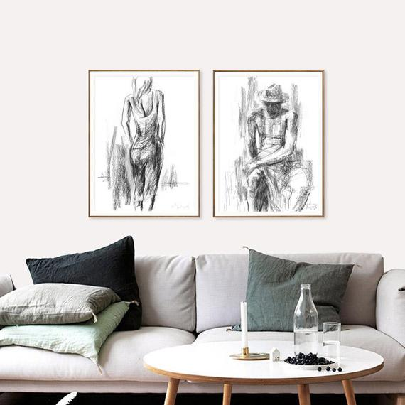 Living Room Wall Decor Set Of 2 Black White Prints Charcoal | Et