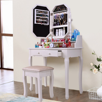 Solid Wood Modern Vanity Cosmetic Dressing Table Cabinet Mirror .