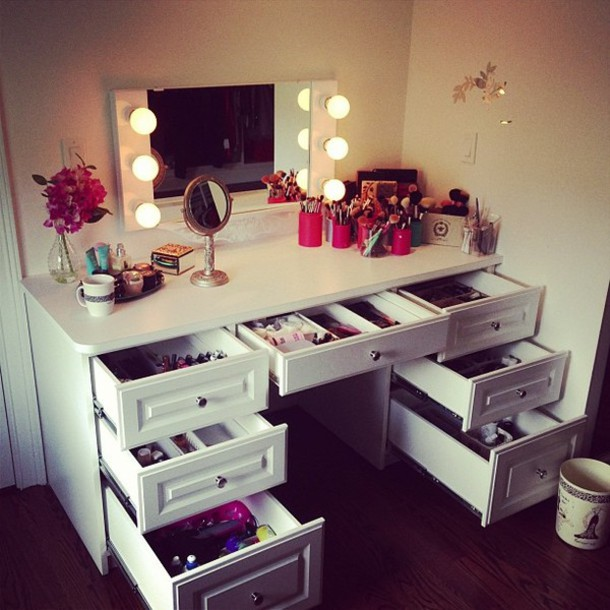 table, make-up, makeup table, furniture, mirror, make-up, home .