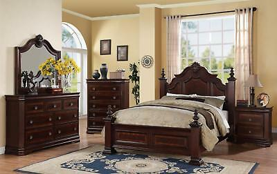 Royal Design 5pc King Size Post Master Bedroom Set Solid Wood Home .
