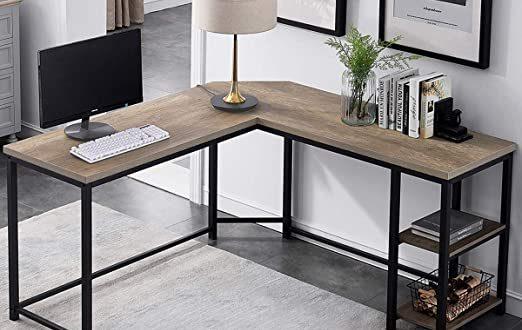 Amazon.com: Furnichoi L-Shaped Computer Desk, Industrial Wood and .