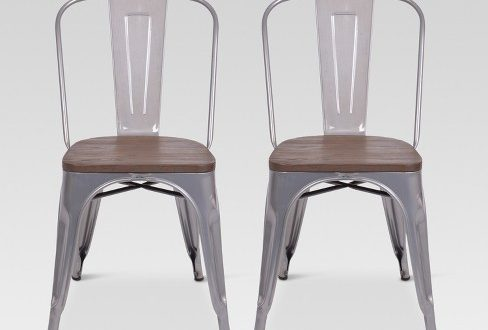 Set Of 2 Carlisle High Back Metal Dining Chair With Wood Seat .