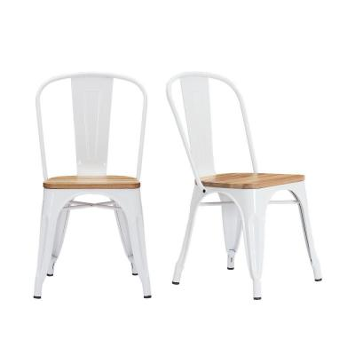 StyleWell Finwick White Metal Dining Chair with Wood Seat (Set of .