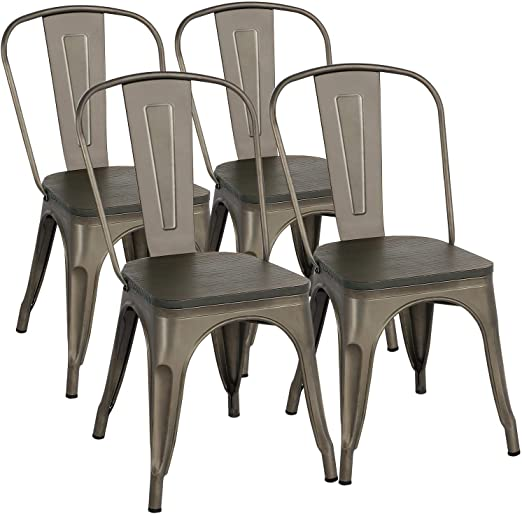 Amazon.com - Yaheetech Metal Dining Chairs with Wood Seat/Top .