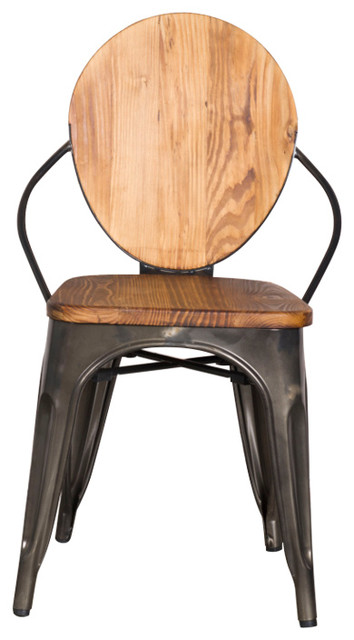 Fine Mod Imports Metal Dining Chair, Walnut - Industrial - Dining .