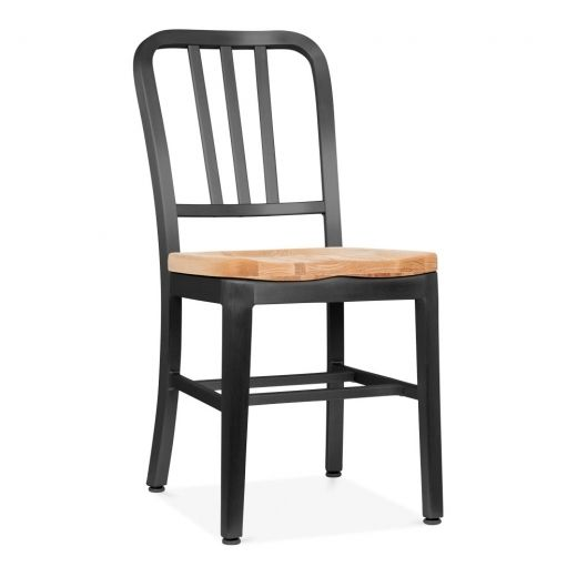 Navy Style Metal Dining Chair 1006 with Natural Wood Seat, Matte .