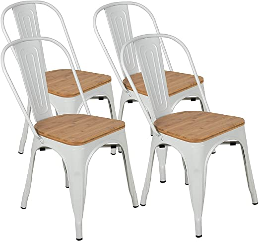 Amazon.com - BONZY HOME Metal Dining Chairs with Wood Seat, Bistro .