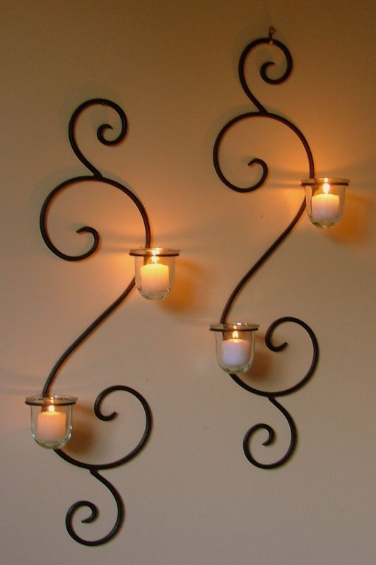 Wall Mounted Long Holder Using Wrought Iron Candle Holders As .