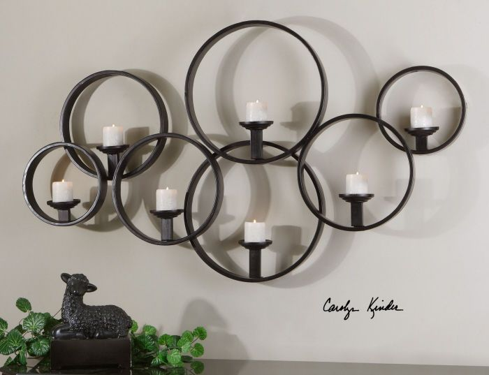 Contemporary Candle Wall Sconce Modern Large Black Metal Circles .