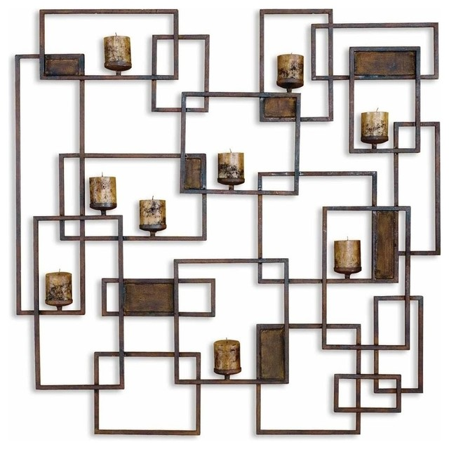 Large Contemporary Geometric Wall Candle Sconce - Contemporary .