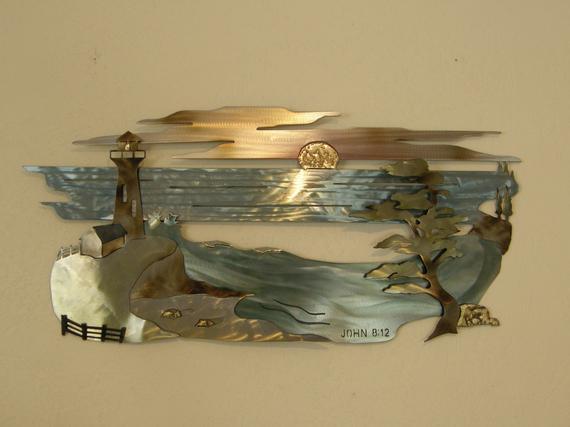Beach Scene Metal Wall Sculpture with Scripture | Et