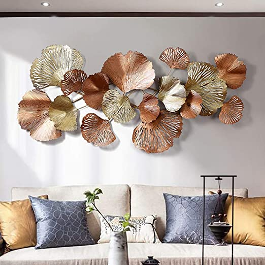 Amazon.com: Metal Wall Art, Golden Ginkgo Leaf Large Decorative .