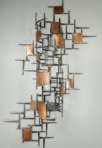 Large Welded Metal Wall SculptureCandle Holder Copper by autodor .