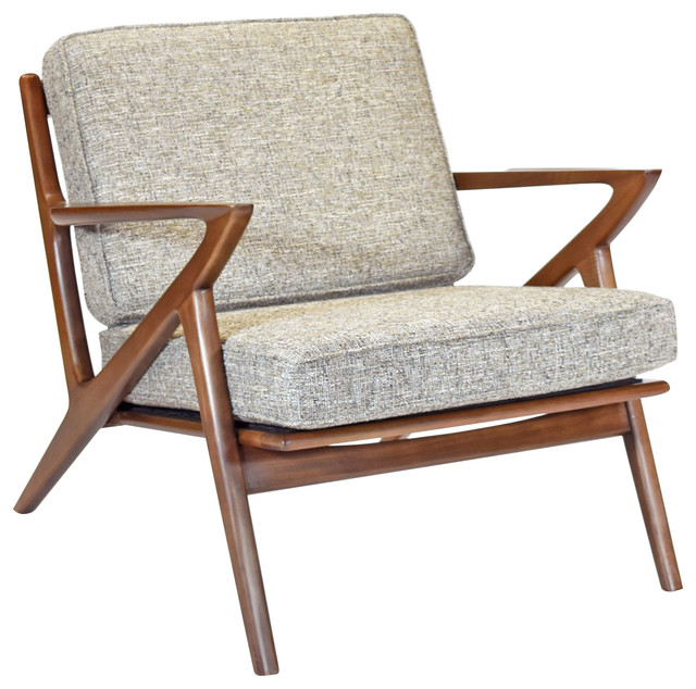 Zach Mid Century Modern Walnut Lounge Chair - Midcentury .