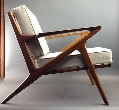 Danish Mid Century Modern Selig Z Style Teak Lounge Chair .