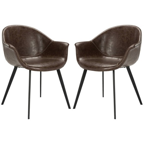 Set Of 2 Dublin Midcentury Modern Leather Dining Tub Chair Dark .