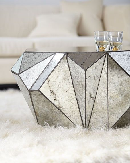 Dimensional Antiqued-Mirror Coffee Table | Mirrored coffee tables .