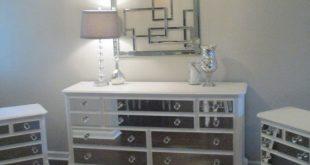 Mirrored Dresser and 2 Matching Nightstands Pure White, Mirrored .