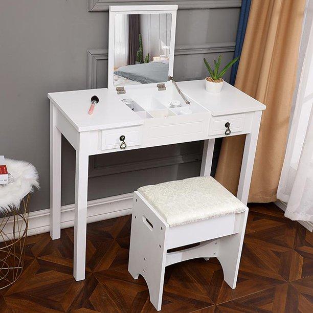 Ktaxon Vanity Set,Flip-top Mirror Dressing Table Makeup Vanity .