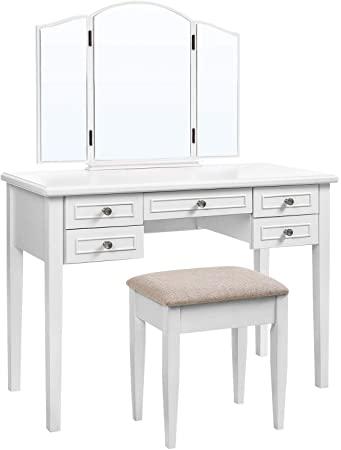 Amazon.com: VASAGLE Vanity Set with Tri-Fold Mirror, Dressing .