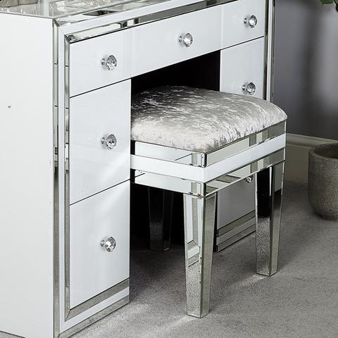 Manhattan White & Mirrored Dressing Table 7 drawer – WOW Interio