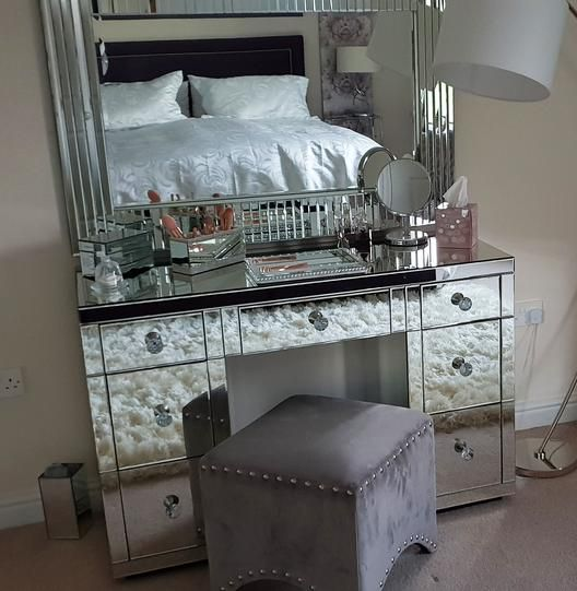 7 Drawer Classic Mirrored Dressing Table | Mirrored Furniture .