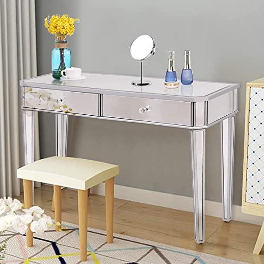 Amazon.com: Tangkula Mirrored Makeup Table Desk Vanity for Women .