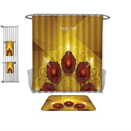 Amazon.com: QINYAN-Home 4 Piece Bath Rug Set-Diwali Decor Modern .