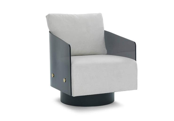 Modern Gray Acrylic Curved Swivel Cha