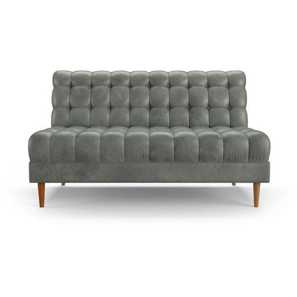 Fitzgerald Mid Century Modern Gray Leather Armless Loveseat .