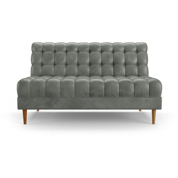 Modern Armless Leather Loveseat | Chair | Tufted leather sofa .