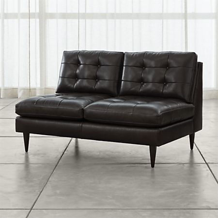 Petrie Armless Tufted Leather Loveseat + Reviews | Crate and Barr