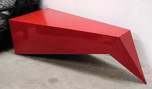 Bent Pyramid Table modern functional art furniture by sculptor .