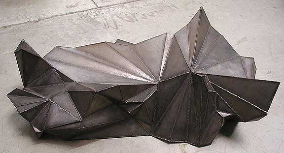 Meteor Table modern art furniture in steel by sculptor Bruce Gr
