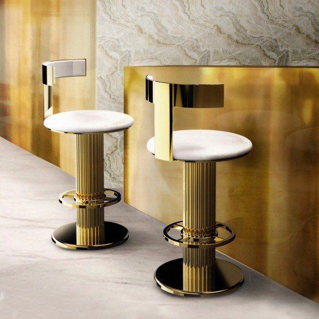 Luxury Mid Century Gold Modern Bar Stool | Modern bar stools .